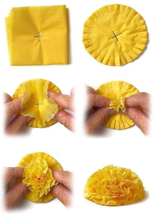 Как сделать цветок из салфеток своими руками поэтапно фото