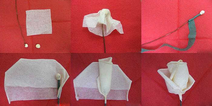 Как сделать розу из салфеток