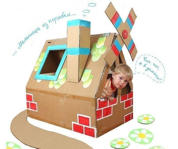 Детский домик для кукол из коробки 72