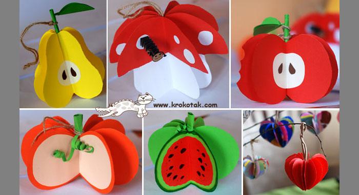 фрукты и овощи из бумаги
