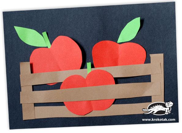 Корзинка с яблоками - аппликация
