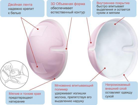 Впитывающие прокладки для грудного молока