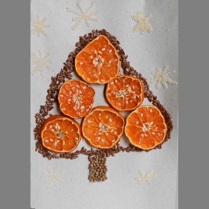 Открытка из мандаринов