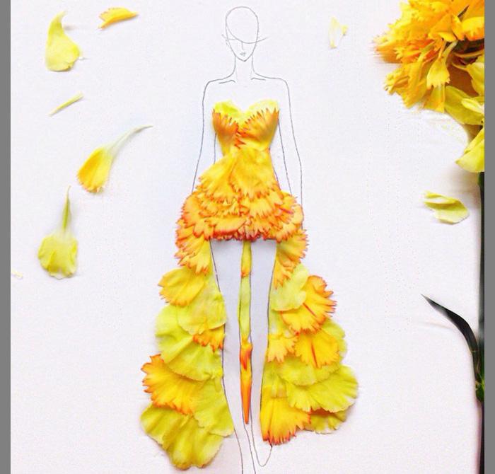 Как нарисовать платье из листьев