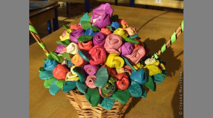 Поделка букет цветов из пластилина 16