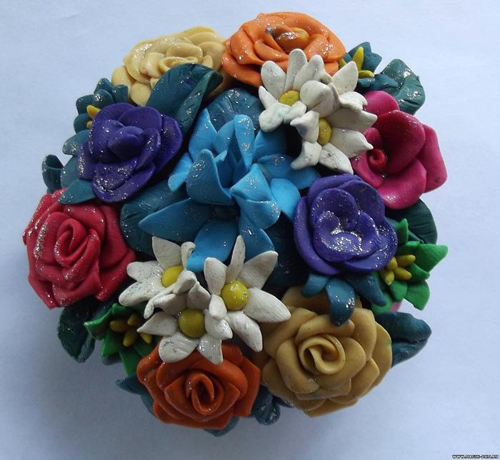 Поделка букет цветов из пластилина 96