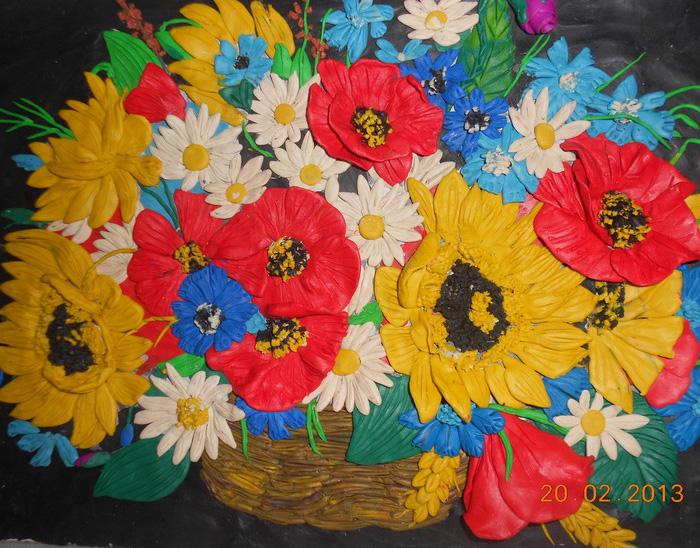 plastilin-22 Букет цветов из пластилина своими руками для детей 5-6 лет