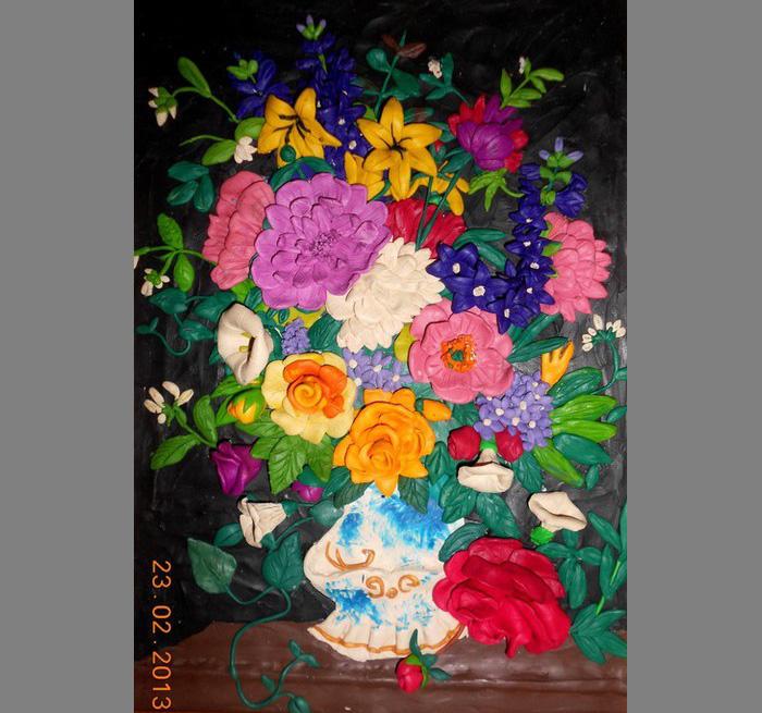 plastilin-4 Букет цветов из пластилина своими руками для детей 5-6 лет