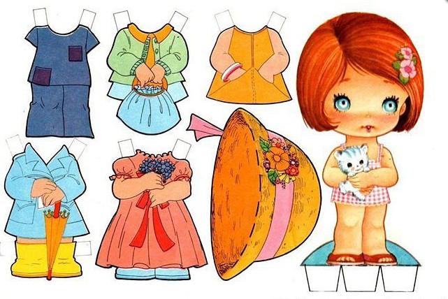 картинки бумажных кукол с одеждой