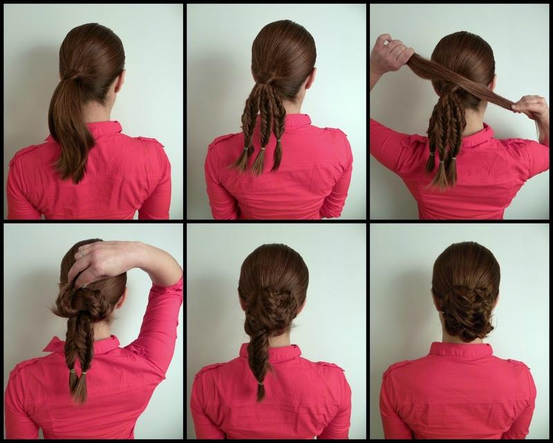 Причёски со шпильками на средние волосы своими руками
