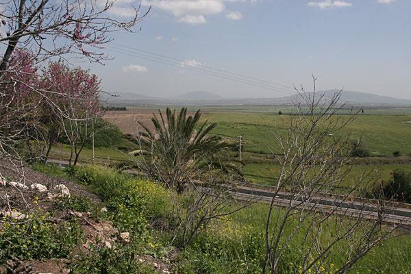 Вид на гору Фавор с городища Мегиддо (Армагеддон)