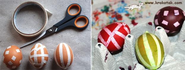 Покраска яиц с помощью изоленты
